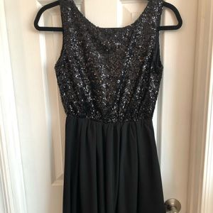 NEW  Windsor Black and Chiffon Sequined Dress